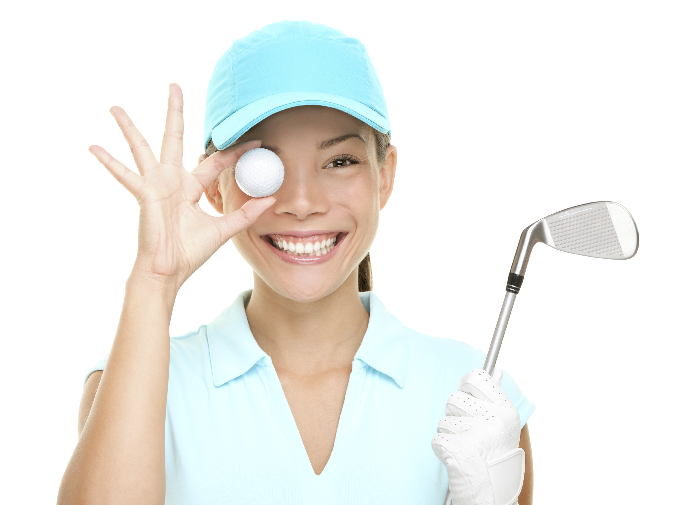 Golf ball woman holding club